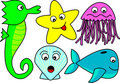 Bright cartoon sea creatures Stock Photography