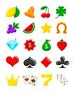 Bright casino flat icons set. Vector slot-machine symbols. Royalty Free Stock Photo