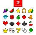 Bright casino line icons set. Vector slot-machine symbols. Royalty Free Stock Photo