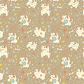 Bright children pattern with cute puppy seamless can be used for wallpaper fills web page background surface Stock Photos