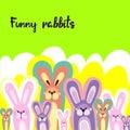 Bright children`s background with multi-colored rabbits