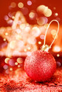 Bright Christmas Decorations with Red Shining Bauble Royalty Free Stock Photo