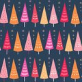 Vector seamless pattern of bright Chrismas trees and stars. Surface pattern design background ideal for Christmas