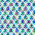 Bright circles forming rhombus abstract grunge colorful splashes texture watercolor seamless pattern design in blue, green Royalty Free Stock Photo