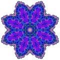 Bright circular ornament purple flower mandala
