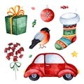 Bright collection with red car,candy,gift,bullfinch,sock and more