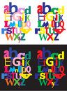 Bright color abc alphabet groups sets of with colored letters on white and black backgrounds Stock Photo