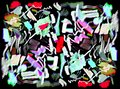 stock image of  Bright color abstract painting in Memphis style.