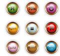 Bright colored buttons white background isolate Stock Photos