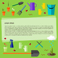 Bright colored conceptual illustration with garden tools isolated on fresh green background on the theme of spring gardening Royalty Free Stock Photo