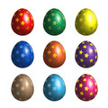 Bright colored easter eggs with star pattern