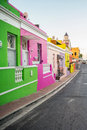 Bright colored homes in the Bo-Kaap neighborhood Royalty Free Stock Photo