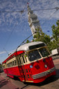 Bright Colored Trolley In San Francisco Stock Photography