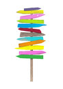 Bright colorful blank wooden directional beach signs on pole Royalty Free Stock Photo