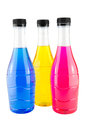 Bright colorful bottles water in on white background Stock Photography