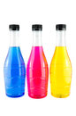 Bright colorful bottles water in on white background Stock Image