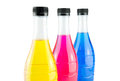 Bright colorful bottles water in on white background Stock Photo