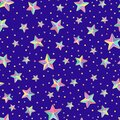 Bright colorful cartoon stars stars and circles with golden out line on a blue background. Vector seamless pattern.