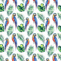 Bright colorful cute beautiful jungle tropical yellow and blue big parrots with green palm leaves pattern watercolor hand illustra