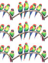 Bright colorful cute beautiful jungle tropical yellow and green parrots on a branch pattern watercolor hand illustration