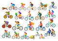 Bright colorful different active people riding bikes collection, man woman couples family friends children cycling to office work,