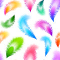 Bright colorful feathers seamless pattern flying vector Royalty Free Stock Photography