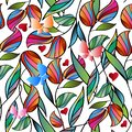Bright colorful flowers and butterflies seamless pattern. Vector illustration. Ornamental spring summer background. Hand drawn Royalty Free Stock Photo