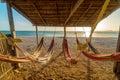 Bright Hammocks and Beach Royalty Free Stock Photo
