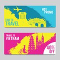 Bright and colorful promotion banner with pink and blue color for Vietnam travel,silhouette art design