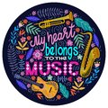 Bright colorful Round concept on a white background, lettering with musical instruments and flowers. vector