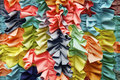 Bright colorful ruffled fabric background close up Royalty Free Stock Images