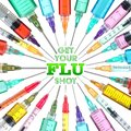 Bright and colorful syringes - Get your FLU shot Royalty Free Stock Photo