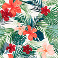 Bright colorful tropical seamless background with