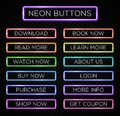Bright colors neon web buttons set website design. Royalty Free Stock Photo