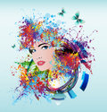 Bright colors woman s face on a black background Royalty Free Stock Images