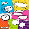 Bright comic elements book with speech bubbles vector illustration Royalty Free Stock Photos