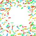 Bright confetti dust explosion over white background