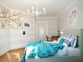 Bright and cozy modern bedroom interior design with white walls, Royalty Free Stock Photo