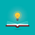 Bright creative idea light bulb over open book, Think idea concept, Flat style illustration.