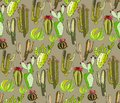 Bright cute beautiful abstract lovely mexican tropical floral herbal summer green set of a cactus paint like child pattern on beig Royalty Free Stock Photo
