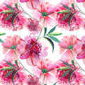 Bright cute tender lovely beautiful wonderful spring floral herbal pink peony with green leaves and buds watercolor hand illustrat
