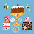 Bright decorative cakes Stock Photography