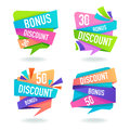 Bright Discount And Bonus Bubble Tags Royalty Free Stock Photo