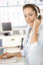 Bright dispatcher office pretty smiling working Arkivbild