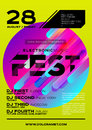 Bright DJ Poster for Summer Festival. Minimal Electronic Music C