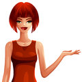 Bright drawing of red haired sexy caucasian lady wearing a red e elegant dress female portrait stylish dressed shows something Stock Image