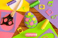 Bright Easter egg made of felt and decorated with flowers. Colorful felt crafts for Easter Royalty Free Stock Photo