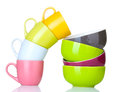 Bright empty bowls and cups Stock Images