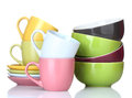 Bright empty bowls, cups and plates Royalty Free Stock Photography