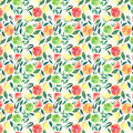 Bright exotic juicy summer citrus pattern orange lemon shades of green watercolor